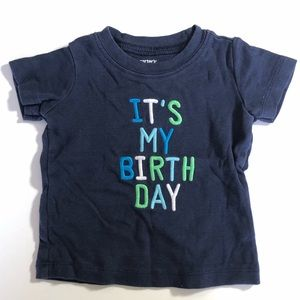 12 Month Carters Birthday Baby Boy Shirt Blue